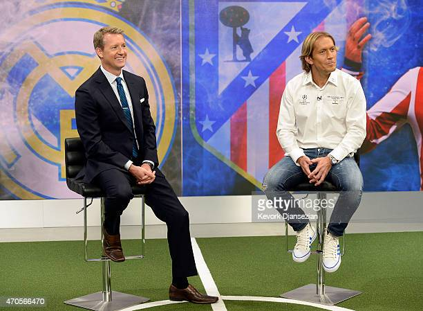 Spanish retired footballer Michel Salgado , two time Champions League winner with Real Madrid, takes part in a live broadcast with Fox Sports soccer...