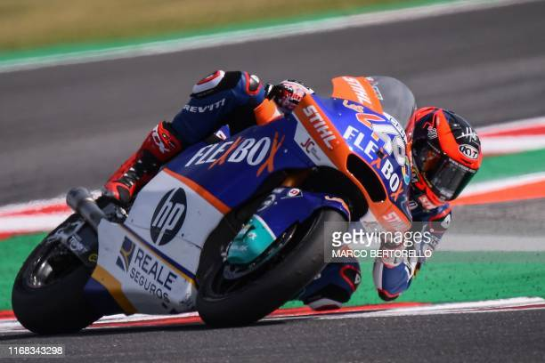 Spanish rider Augusto Fernandez competes on his way to win the San Marino Moto2 Grand Prix race at the Misano World Circuit Marco Simoncelli on...