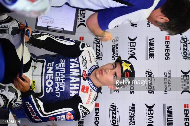 Spanish rider Jorge Lorenzo of Yamaha Factory Racing team looks on during the first training session of the MotoGP of Italy at the Mugello Circuit...