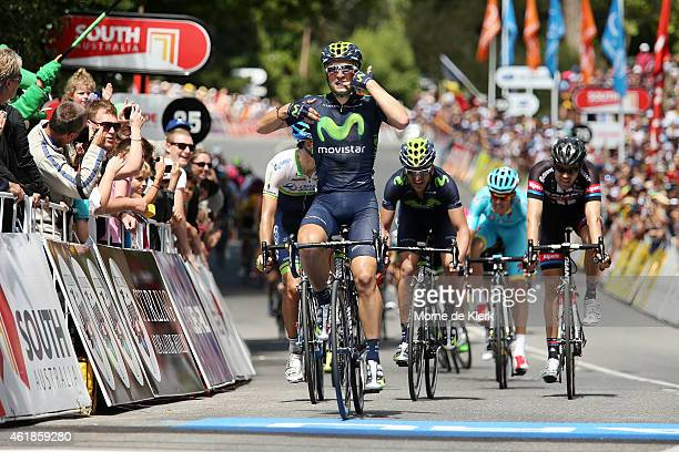 Spanish rider Juan Jose Lobato of the Movistar Team celebrates after winning stage 2 of the 2015 Santos Tour Down Under on January 21, 2015 in...