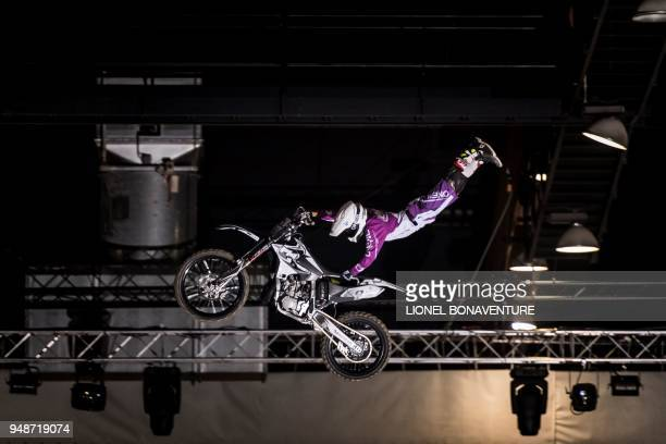 Spanish rider Maikel Melero performs during a motocross freestyle show in Tours on April 7 2018 Each time their life is at stake freestyle motocross...