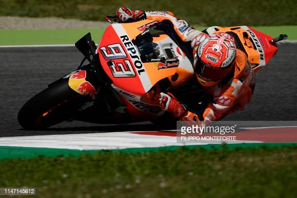 Spanish rider Marc Marquez rides his Honda during a free practice session for the Italian Moto GP Grand Prix at the Mugello race track on May 31 2019...