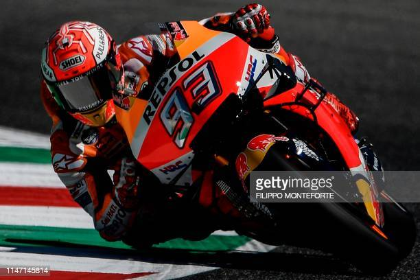 TOPSHOT Spanish rider Marc Marquez rides his Honda during a free practice session for the Italian Moto GP Grand Prix at the Mugello race track on May...