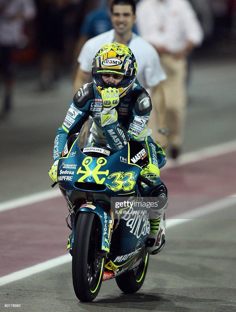 Spanish rider Sergio Gadea celebrates at : News Photo