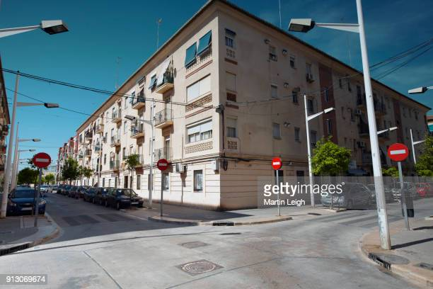 spanish road signage for cars in city, no entry. - corner stock pictures, royalty-free photos & images