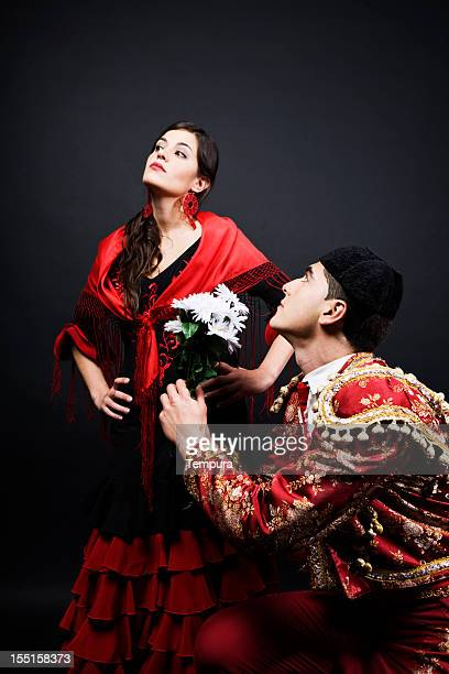 spanish romance bullfighter in love with flamenco dancer. - flamenco stock photos and pictures