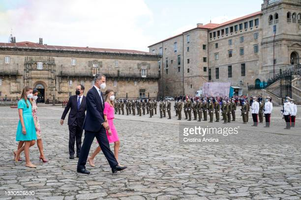 Spanish Royal Family are seen arriving at the national offering to the apostle Santiago on Santiago's regional festivity at Santiago's Cathedral on...