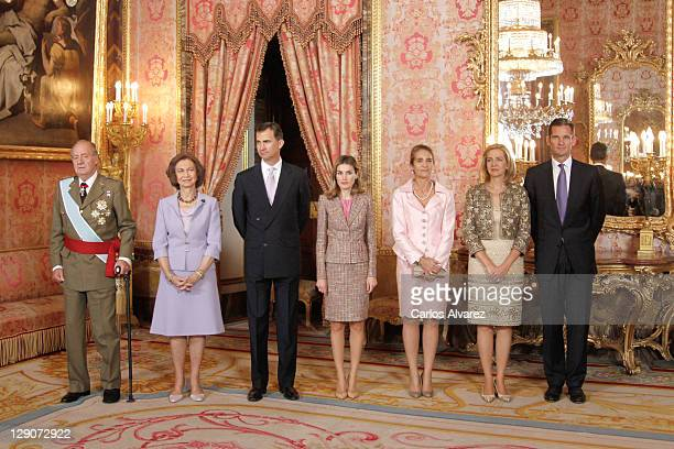 Spanish Royal Family King Juan Carlos, Queen Sofia, Prince Felipe, Princess Letizia, Prince Elena, Princess Cristina and Inaki Urdangarin attend...