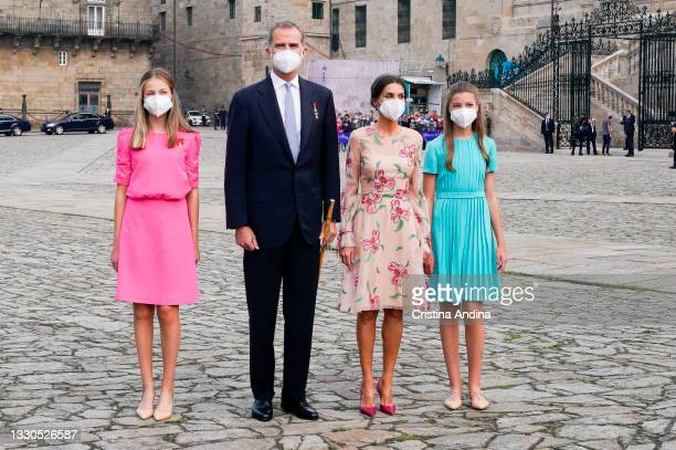 Spanish Royal Family members , Crown Princess Leonor, King Felipe VI, Queen Letizia and Princess Sofia pose at the national offering to the apostle...