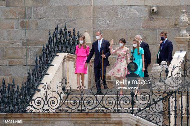 Spanish Royal Family members , Crown Princess Leonor, King Felipe VI, Queen Letizia and Princess Sofia greeting at the exit of the mass at the...
