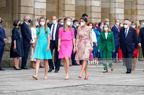 Spanish royal family members Princess Sofia , Crown Princess Leonor and Queen Letizia are seen arriving at the national offering to the apostle...
