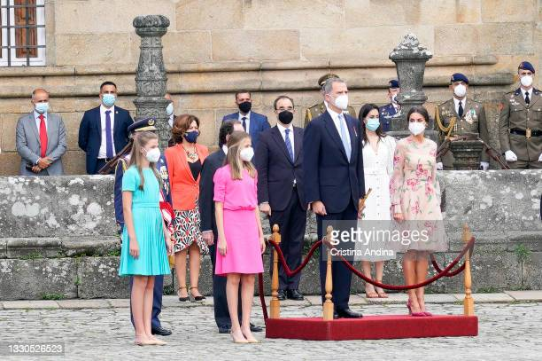 Spanish Royal Family Princess Sofia, Crown Princess Leonor, King Felipe VI and Queen Letizia are seen during at the national offering to the apostle...