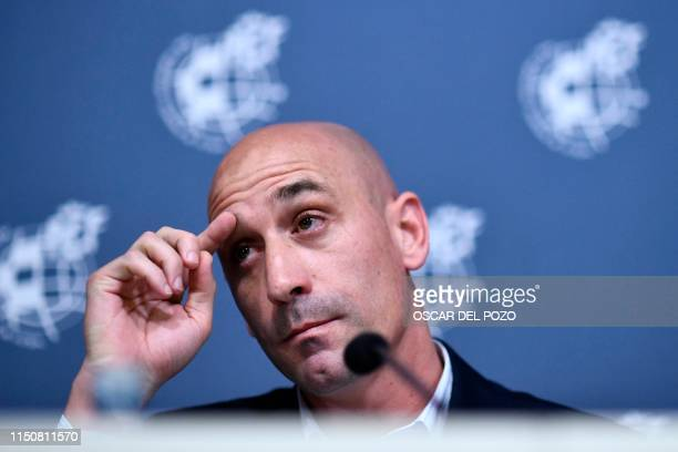 Spanish Royal Football Federation president Luis Rubiales gives a press conference on July 19, 2019 at Las Rozas football sports city near Madrid, to...