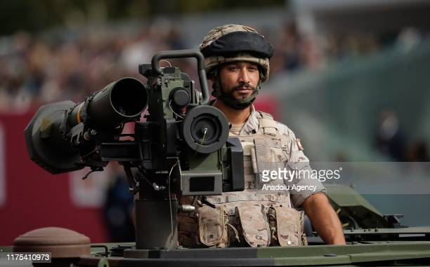 Spanish royal guards march during the National Day military parade in downtown Madrid Spain on October 12 2019 Some 4500 troops Civil Guard officers...