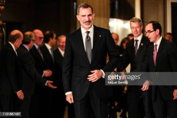 Spanish Royal King Felipe VI arrives for a dinner at the National Art Museum of Catalonia to mark the inauguration of the Mobile World Congress on...