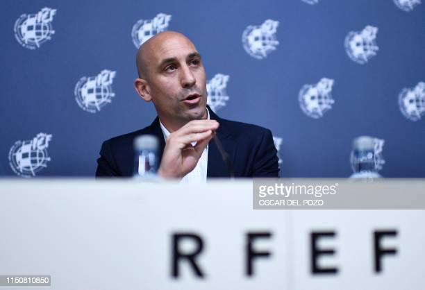 Spanish Royal Spanish Football Federation president Luis Rubiales gives a press conference on July 19, 2019 at Las Rozas football sports city near...