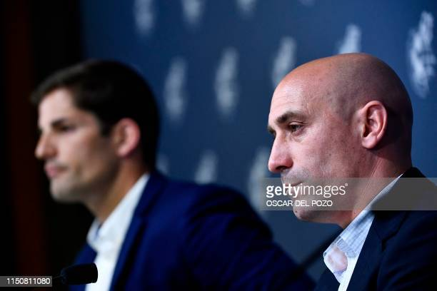 Spanish Royal Spanish Football Federation president Luis Rubiales gives a press conference with Spain´s newly appointed coach Robert Moreno on July...