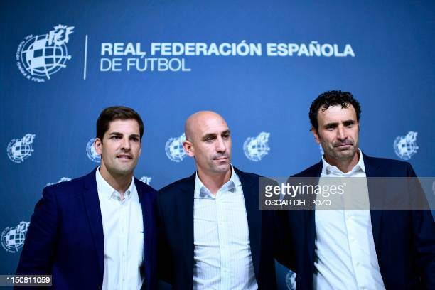 Spanish Royal Spanish Football Federation president Luis Rubiales Spain's sporting director Jose Francisco Molina and Spain´s newly appointed coach...