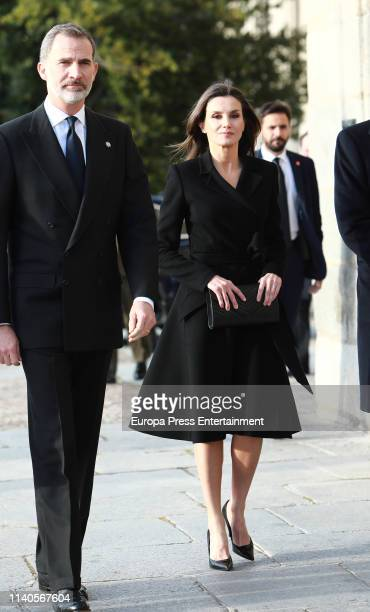Spanish Royals arrived at a memoriam funeral for Jose Pedro PerezLlorca Rodrigo at San Jeronimo El Real Church on April 04 2019 in Madrid Spain