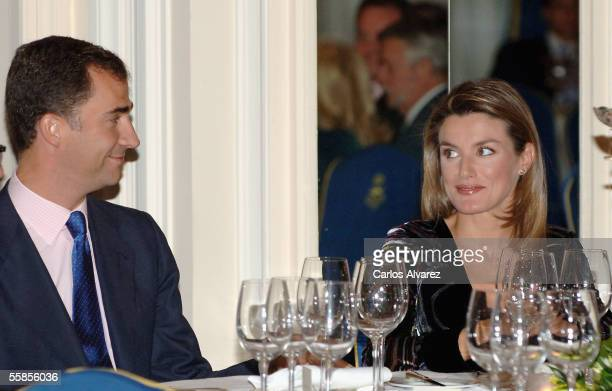 Spanish Royals Crown Prince Felipe and his pregnant wife Princess Letizia preside at the Journalism Awards at the Ritz Hotel on October 5 2005 in...
