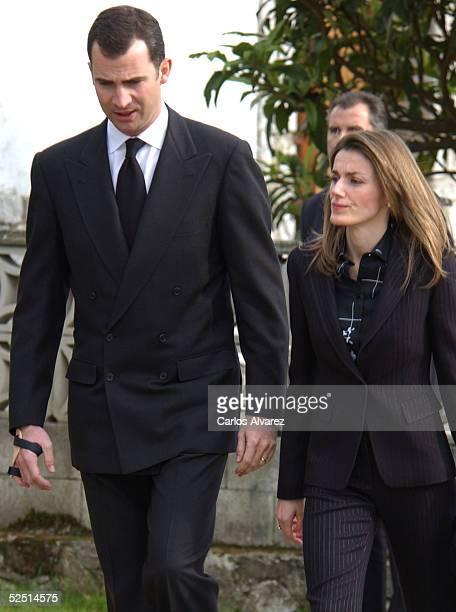 Spanish Royals Crown Prince Felipe and his wife Princess Letizia attend the funeral of Letizia's grandfather Jose Luis Ortiz Velasco at Nuestra Seora...