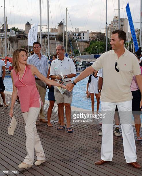 Spanish Royals Crown Prince Felipe and Princess Letizia attend the 24th Copa del Rey Sailing Trophy on August 2 2005 in Mallorca Spain