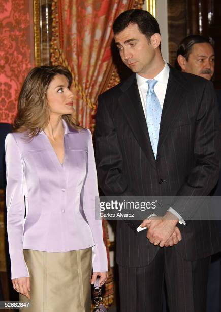 Spanish Royals Crown Prince Felipe and Princess Letizia receive representatives of Spanish writers ahead of the Cervantes Awards, at the Royal Palace...