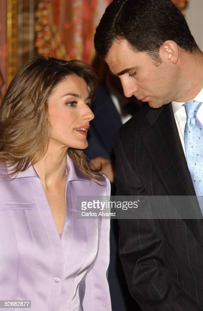 Spanish Royals Crown Prince Felipe and Princess Letizia receive representatives of Spanish writers ahead of the Cervantes Awards at the Royal Palace...