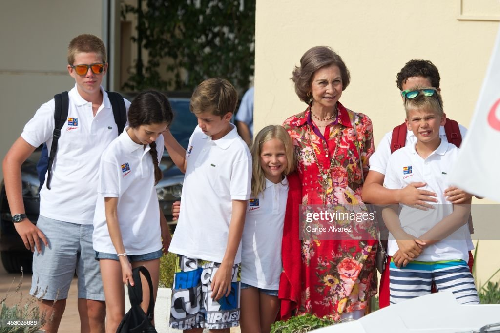 Spanish Royals (L-R) Juan Valentin Urdangarin, Victoria Federica Marichalar, Pablo Nicolas Urdangarin, Irene Urdangarin, Queen Sofia of Spain, Miguel Urdangarin and Felipe Juan Froilan Marichalar pose for the photographers at the Calanova Sailing School on August 01, 2014 in Palma de Mallorca, Spain.