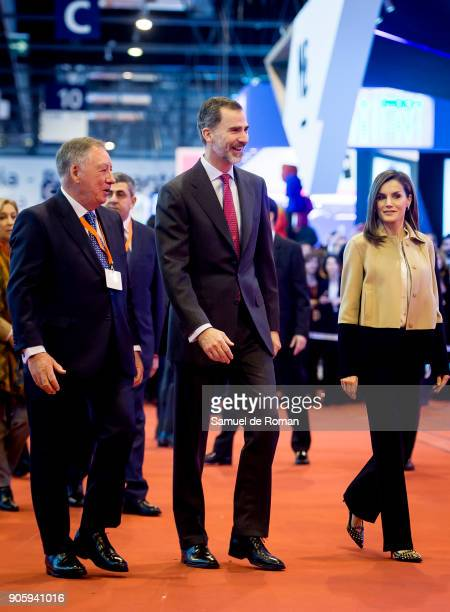 Spanish Royals King Felipe VI of Spain and Queen Letizia of Spain Inugurate FITUR International Tourism Fair 2018 at Ifema on January 17 2018 in...