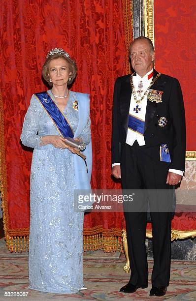 Spanish Royals King Juan Carlos and Queen Sofia welcome Colombian President Uribe and his wife with a gala dinner at the Royal Palace on July 11 2005...