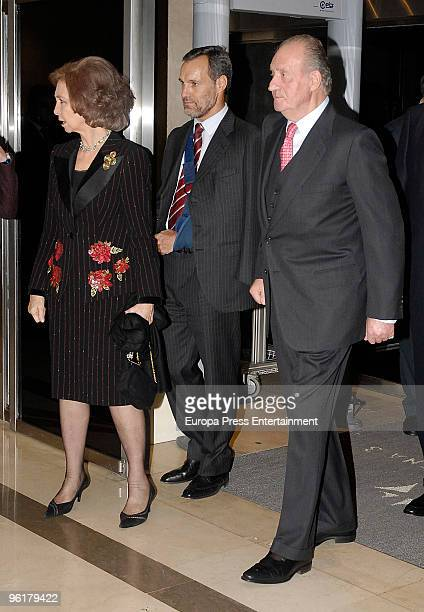 Spanish Royals King Juan Carlos I and Queen Sofia and Nieves Goicoechea visit 'Antena 3' television channel on January 25 2010 in Madrid Spain