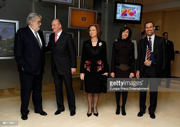 Spanish Royals King Juan Carlos I and Queen Sofia visit 'Antena 3' television accompanied by Jose Manuel Lara Silvio Gonzalez and Nieves Goicoechea...
