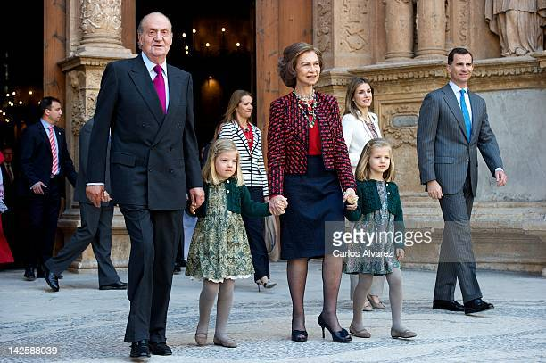 Spanish Royals King Juan Carlos Princess Sofia Princess Elena Queen Sofia Princess Leonor Princess Letizia and Prince Felipe attend Easter Mass at...