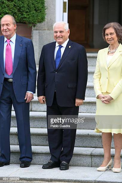 Spanish Royals Meet President of Panama Ricardo Martinelli at Zarzuela Palace on May 28 2014 in Madrid Spain