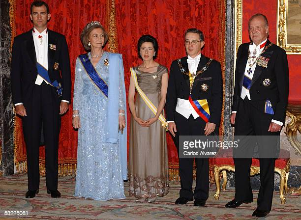 Spanish Royals Prince Felipe King Juan Carlos and Queen Sofia welcome Colombian President Alvaro Uribe and his wife with a gala dinner at the Royal...