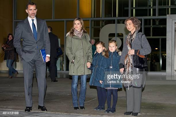 Spanish Royals Prince Felipe Princess Letizia Princess Sofia Princess Leonor and Queen Sofia visit King Juan Carlos of Spain at the Quiron University...