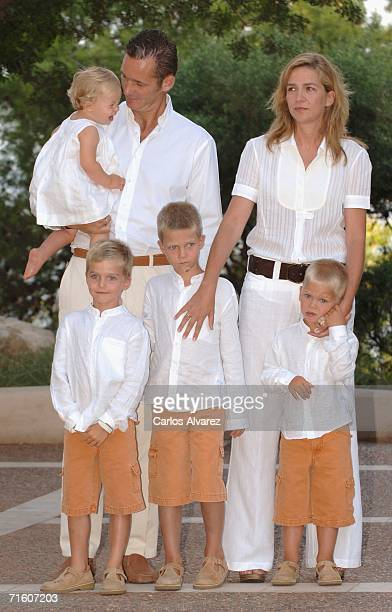 Spanish Royals Princess Cristina, husband Inaki Urdangarin and sons Pablo Nicolas, Juan Valentin , Miguel and Irene attend a photocall during their...