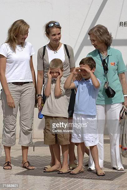 Spanish Royals Princess Cristina Princess Elena Queen Sofia and children Juan Valentin and Frolian arrive at the Club Nautico during the 25th Copa...