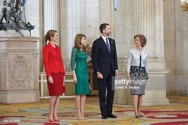 Spanish Royals Princess Elena Princess Letizia Prince Felipe and Queen Sofia receive International Olympic Committee Evaluation Commission Team for a...