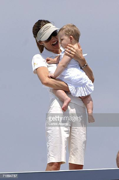 Spanish Royals Princess Letizia and Princess Leonor on board of the 'Fortuna' during the last day of 25th Copa del Rey sailing trophy August 6 2006...