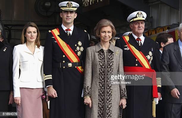 Spanish Royals Princess Letizia, Crown Prince Felipe, Queen Sofia and King Juan Carlos attend the presentation of the Combat Flag to the Juan de...