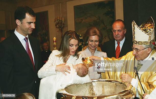 Spanish Royals Princess Letizia Princess Leonor Queen Sofia and King Juan Carlos attend the Christening of the daughter of Prince Felipe and Princess...