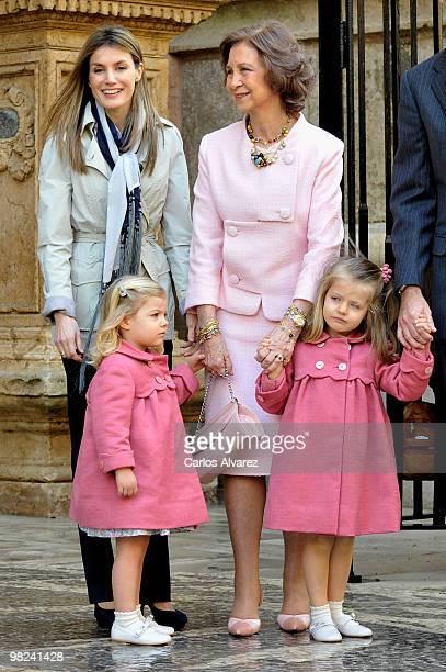 Spanish Royals Princess Letizia, Princess Sofia, Queen Sofia and Princess Leonor attend Easter Mass at Palma de Mallorca Cathedral, on April 4, 2010...