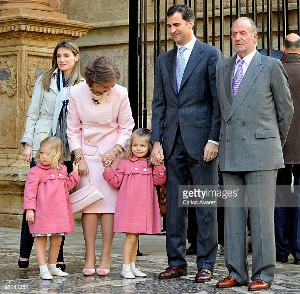 Spanish Royals Princess Letizia Princess Sofia Queen Sofia Princess Leonor Prince Felipe and King Juan Carlos attend Easter Mass at Palma de Mallorca...