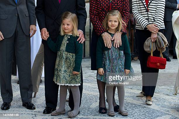 Spanish Royals Princess Sofia and Princess Leonor attend Easter Mass at the Cathedral of Palma de Mallorca on April 8 2012 in Palma de Mallorca Spain