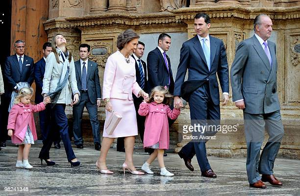 Spanish Royals Princess Sofia Princess Letizia Queen Sofia Princess Leonor Prince Felipe and King Juan Carlos attend Easter Mass at Palma de Mallorca...