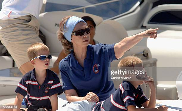 Spanish Royals Queen Sofia her daughter Princess Cristina Inaki Urdangarin and grandsons Juan Pablo and Miguel on board the boat Somni attend the...
