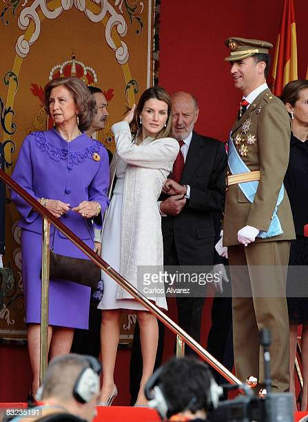 Spanish Royals Queen Sofia Princess LEtizia and Crown Prince Felipe during Spain's National Day Military Parade on October 12 2008 in Madrid Spain...