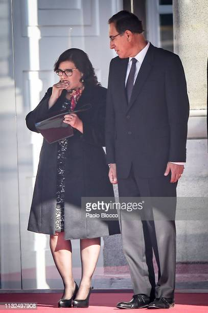 Spanish Royals receive Peruvian president Martin Alberto Vizcarra Cornejo and wife Maribel Diaz Cabello at the Royal Palace on February 27 2019 in...